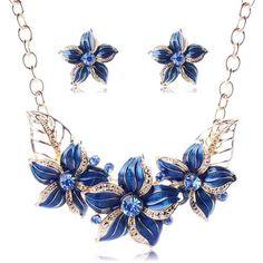 Austrian Crystal Flower Jewelry Set