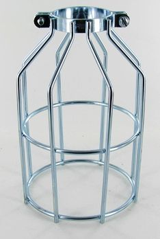 MCGILL CLAMP ON OPEN BOTTOM BULB CAGE WIRE LAMP GUARD, STEEL ZINC PLATED. MADE IN USA.