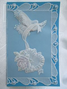 card com pomba Paper Cards, Diy Cards, Parchment Design, Parchment Cards, Stationery Craft, Ribbon Art, Pretty Cards, Bead Art, Machine Embroidery Designs