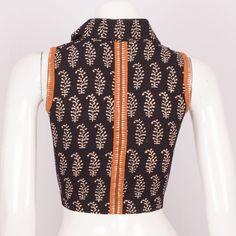 Hand Crafted Black Sleeveless Cotton Blouse With Zari Edging & Collar Back 10013544 - Size 34 - back - AVISHYA.COM