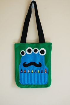 Green Felt Monster Coloring Tote by BetterThanPerfect on Etsy, $20.00
