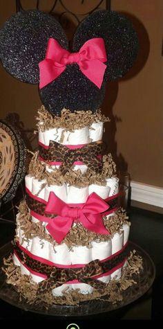 Minnie mouse cheetah diaper cake