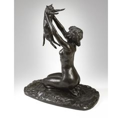 Rembrandt Bugatti  1884 - 1916  LA FEMME AU CHAT (FEMME NUE SOULEVANT UN CHAT)  Inscribed with the signature R. Bugatti, stamped with the foundry mark A.A. Hébrard Cire Perdue and numbered 2  Bronze  Height: 22 7/8 in.  58 cm  Conceived circa 1906 and cast in 1908 as number 2 in edition of 3.