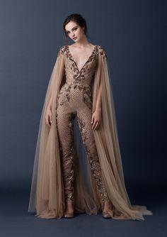 For the impossibly kickass bride | Paolo Sebastian Autumn Winter 2015 Jumpsuit avec cape