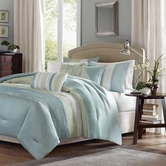 Madison Park Chester Green/Blue 6-piece Duvet Cover Set | Overstock.com Shopping - The Best Deals on Duvet Covers