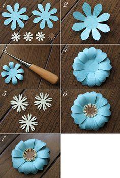 $Fleurs de Papier ~クラフトパンチや花紙で作る立体のお花いろいろ~-クラフトパンチでペーパーフラワー