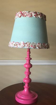 Fun and flirty turquoise lamp with whimsical floral lamp shade fun pink table lamp with monogrammed floral lampshade by clairesbrightside on etsy https mozeypictures Image collections