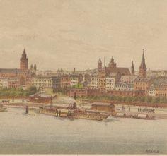 1880s Antique Print  Mainz Rhine Bridge  Mainz mit by OldPrintLoft, €59.90
