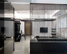 Hanging kitchen partition in 2 or 3 sections? String Curtains, Black Curtains, Curtain Divider, Striped Room, Striped Wallpaper, Storage Design, Home Renovation, Home Furnishings, Modern