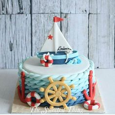 47 Ideas Baby Shower Cake Funny Ideas For 2019 Baby Cakes, Baby Shower Cakes, Sea Cakes, Pink Cakes, Nautical Birthday Cakes, Nautical Cake, Baby Birthday Cakes, Cupcakes, Cupcake Cakes