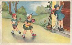 Cadeautjes brengen   Vintage ansichtkaarten   ZomaarVintage