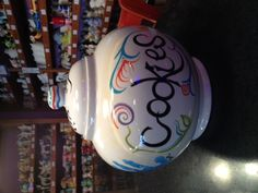 very cute cookie jar painted by Malia at Dish It Out