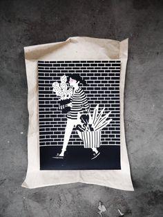 Karolin Schnoor Cactus via @Etsy #screenprint #illustration #design #walls #kitchen #bedroom #apartemnt #print #blackandwhite
