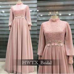 Dress Brokat Muslim, Muslim Prom Dress, Dress Brokat Modern, Kebaya Modern Dress, Hijab Evening Dress, Hijab Dress Party, Long Sleeve Evening Dresses, Dress Brukat, Chiffon Dress