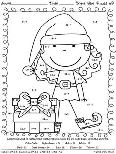 Bright Ideas For The Holidays: Christmas Math Puzzles ~ Color By The Code To Practice Basic Addition and Subtraction Math Facts in December / Winter. Perfect set for the last few days before the winter vacation! This set includes 10 math puzzles. ~This Unit Is Aligned To The CCSS. Each Page Has The Specific CCSS Listed.~ Answer Keys Included. $