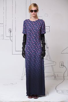 look 30 - Band of Outsiders   Fall 2014 Ready-to-Wear Collection   Style.com. I don't love the dress, but this dip-dyed calico is fun.
