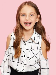 To find out about the Girls Cold Shoulder Grid Shirt at SHEIN, part of our latest Girls Blouses ready to shop online today! Cute Girl Outfits, Kids Outfits Girls, Cute Outfits For Kids, Shirts For Girls, Tween Fashion, Fashion Outfits, Fashion Trends, Mode Kpop, Girls Blouse