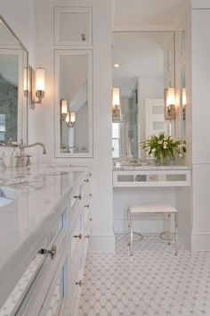 Master bath - L-shaped area with our double vanities and makeup area - interesting separation here.