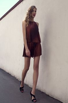 burgundy outfit with asymmetric heels