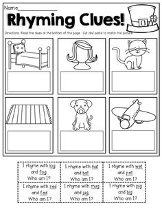 Rhyming Clues!  Read the clues, cut and paste to match the pictures!  Great for BEGINNING readers!
