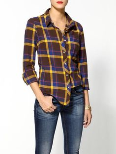 casual blouse for summer 2014 -Hive & Honey Cozy Plaid Button-down | Piperlime