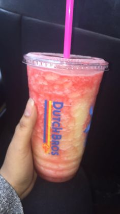 dutch bros Passion peach coconut with pomegranate drizzle blended rebel ( for more dutch drink ideas) Dutch Bros Menu, Dutch Bros Secret Menu, Dutch Bros Drinks, Dutch Apple Pie Topping, Dutch Brothers, Strawberry Smoothie, Fruit Smoothies, Healthy Smoothies, Smoothie Recipes
