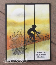 Enjoy Life bike cyclist race triathalon competition uphill dirtbike congratulations card