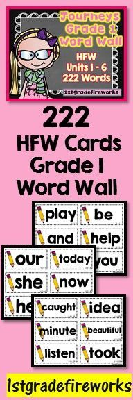 222 CA Journeys HFW for Grade 1 Word Wall. Pencil themed for ALL Year USE! Correlates to CA Journeys Units 1-6.