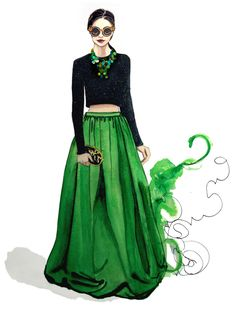 Green the color of Envy, fashion illustration
