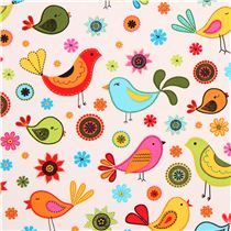 cream fabric from the USA with colorful birds and flowers