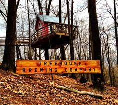 "The Nelson Treehouse Supply company dreamed up the elevated brewery in Loudonville, Ohio for a taping of the Discovery Channel Show ""Tree House Masters. Treehouse Masters, Barn Wedding Venue, In The Tree, Brewing Company, Rustic Barn, Sleepover, Play Houses, Brewery, Places To Go"