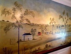 Wall mural in the style of Rufus Porter but have it tailored to Sir William Johnson Hall
