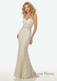 Randy Fenoli Bridal, Olivia Wedding Dress | Style 3403. Allover Venice Lace, Slim Sheath Gown with Sheer Bodice and Sheer Center Back Godet. Sweetheart Neckline.