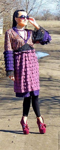 Купить Платье БОХО весеннее (№71) - комбинированный, платье бохо, платье миди, платье весеннее
