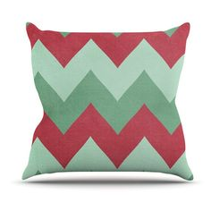 Kess InHouse Catherine McDonald Chevron Outdoor Throw Pillow Holiday - CM1042AOP05