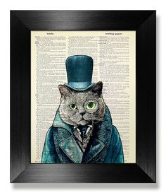 GEEKERY Cat Lover GIFT Man Office Decor, STEAMPUNK Top Hat Cat Painting, Original Artwork Funny Animal Art, British Shorthair clothes Poster