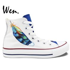 69.00$  Watch now - http://alizd0.worldwells.pw/go.php?t=32692641903 - Wen Original White Hand Painted Shoes Design Custom Feather Men Women's High Top Canvas Sneakers Birthday Gifts 69.00$