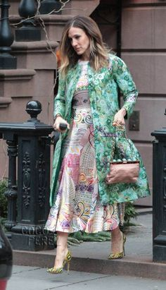 Sarah Jessica Parker & Her Technicolor Coat Take New York | CocoPerez.com    Of course I LOVE this!