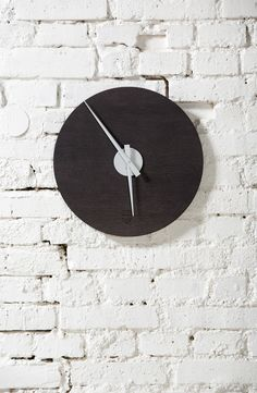 Kolo Clock 440 mm - Stained Oak & Aluminium Designed and produced by LUGI