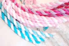 There are a few different ways to make twisted cords from yarn. When I tried to make a rope the very first time (many years ago), I thought I should add some simplicity into this process. I was really happy with my results and I have been using this method ever since.