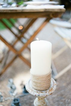 twine wrapped pillar candle, very simple and effective - styled shoot by Jessie Thompson and Taylor Barnes Photography Wedding Reception Decorations, Wedding Centerpieces, Diy Wedding, Rustic Wedding, Wedding Ideas, Olive Style, Barn Parties, Pillar Candles, Wedding Details