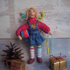 Куклы из ваты-Пеппи длинный чулок-ватная ёлочная игрушка – купить в интернет-магазине на Ярмарке Мастеров с доставкой