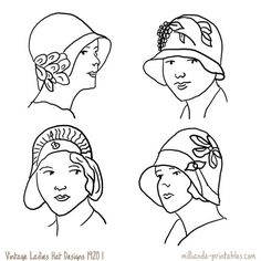 1920's Vintage Ladies Hat Designs at www.milliande-printables.com/vintage-ladies-hat-design.html from our Vintage Womens Hat Printables, How to Draw Hats, Millinery Inspiration on Vintage Hat Styles, free to print