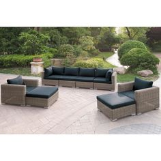 Harvey 6 Piece Patio Sofa Set with Cushions (Brown), Outdoor Patio Furniture (Aluminum) Outdoor Sofa Sets, Outdoor Sectional, Outdoor Living, Sectional Sofa, Outdoor Spaces, Outdoor Life, Outdoor Pool, Sofas, Patio Furniture Sets