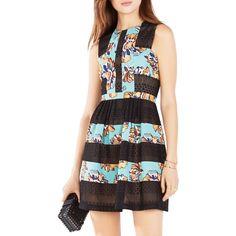 Bcbgmaxazria Cecile Floral-Blocked Dress (4 180 ZAR) ❤ liked on Polyvore featuring dresses, black combo, flower pattern dress, colorblock dress, block print dress, floral print dress and color block dress