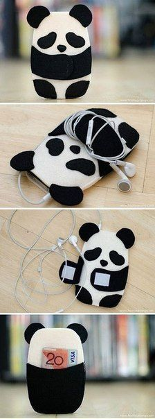 Inspiration for panda/phone/card case! Inspiration for panda/phone/card case! Felt Diy, Felt Crafts, Diy And Crafts, Diy Phone Case, Iphone Cases, Cellphone Case, Diy Case, Iphone 5c, Ipod Holder