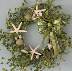 Beach Decor Seashell Christmas Wreath - Shell Holiday Wreath w Starfish, Green