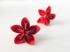 Paper jewelry - Red kusudama paper flower earrings - Origami jewelry by Paperica