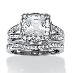 Palm Beach Jewelry 2 Piece 2.50 TCW Princess-Cut Cubic Zicronia Bridal Ring Set in Platinum over Sterling Sil