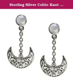Sterling Silver Celtic Knot Crescent Moon Pentacle Earrings Natural Rainbow Moonstone Jewelry. The symbol of the moon is tied to female spirituality and the goddesses of Greek and Roman origin. The phases of the moon represent the stages of a woman's life: maiden (waxing), mother (full), crone (waning). Celtic knotwork is representative of Irish, Welsh and Scottish heritage, and is symbolically a representation of the infinite nature of the cycles of life.